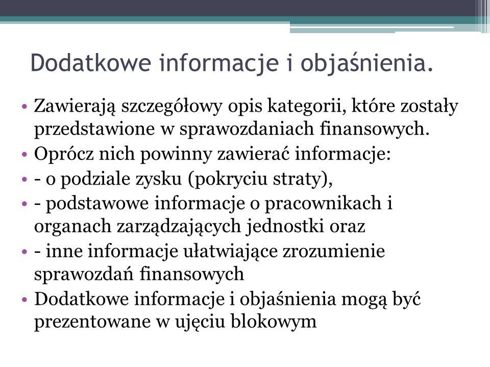 Dodatkowe informacje i objaśnienia. Zawierają szczegółowy opis kategorii, które zostały przedstawione w sprawozdaniach finansowych. Oprócz nich powinn