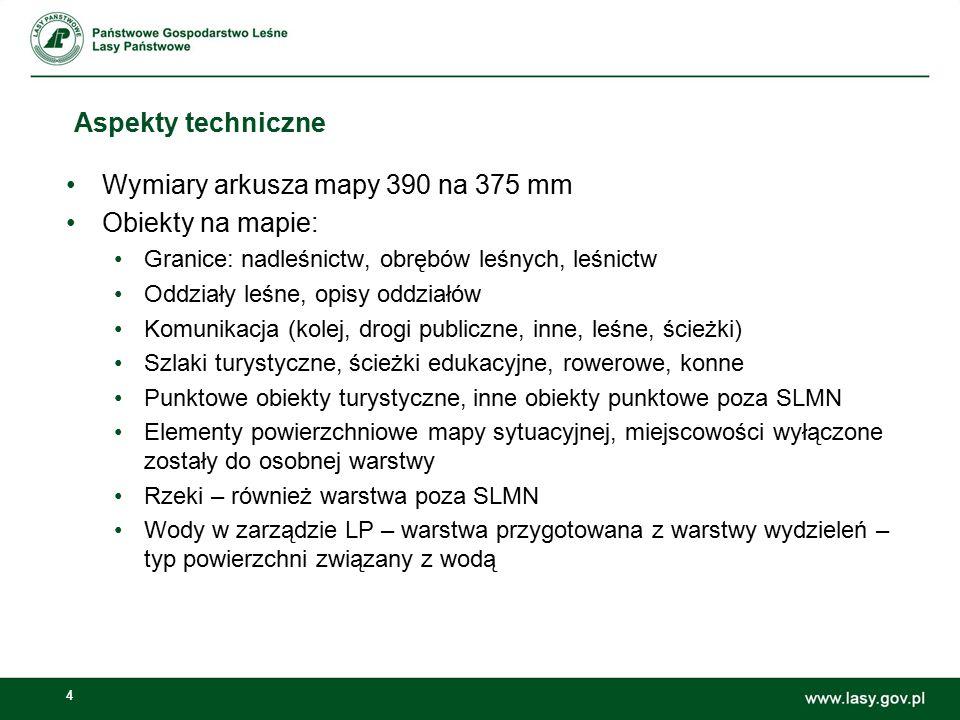 4 Aspekty techniczne Wymiary arkusza mapy 390 na 375 mm Obiekty na mapie: Granice: nadleśnictw, obrębów leśnych, leśnictw Oddziały leśne, opisy oddzia