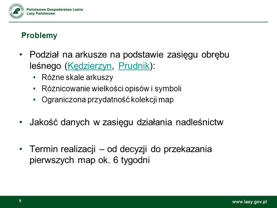 9 Problemy Podział na arkusze na podstawie zasięgu obrębu leśnego (Kędzierzyn, Prudnik):KędzierzynPrudnik Różne skale arkuszy Różnicowanie wielkości o