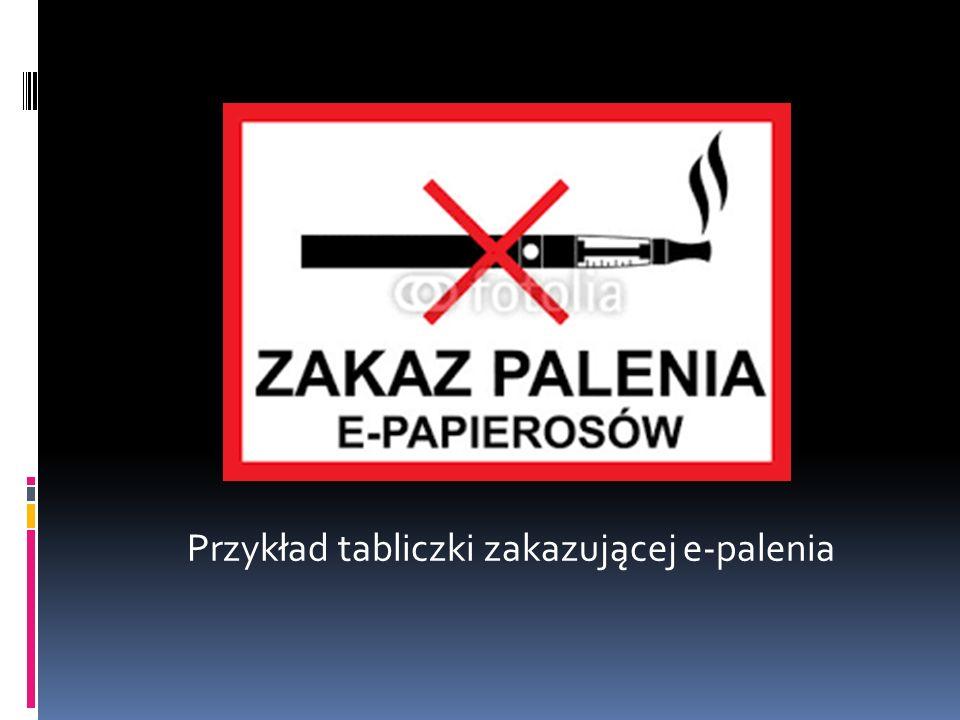 Przykład tabliczki zakazującej e-palenia