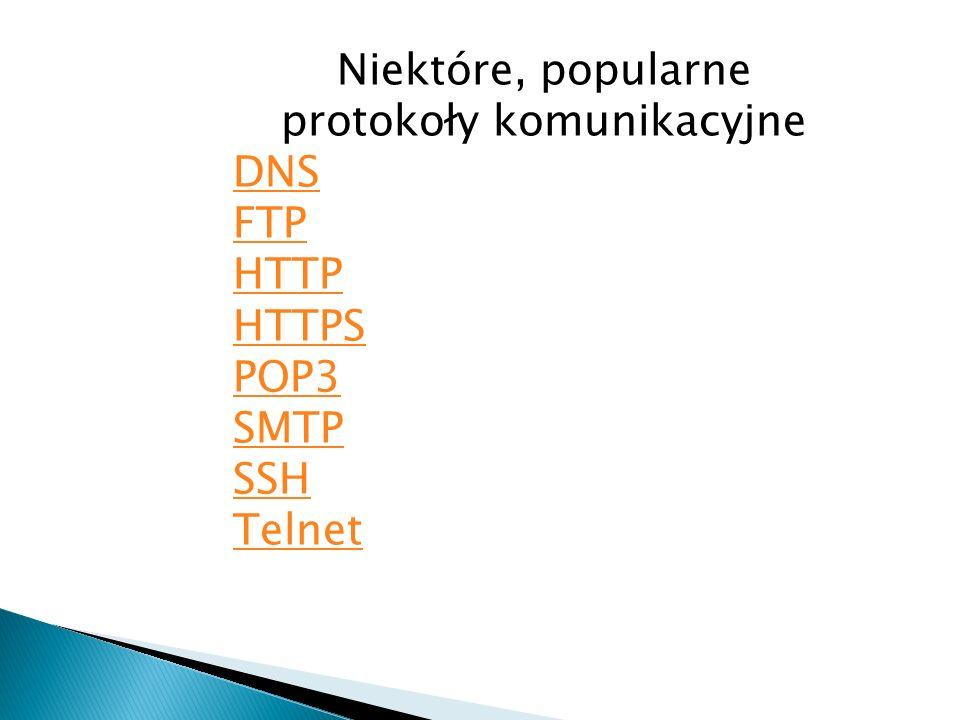 Niektóre, popularne protokoły komunikacyjne DNS FTP HTTP HTTPS POP3 SMTP SSH Telnet