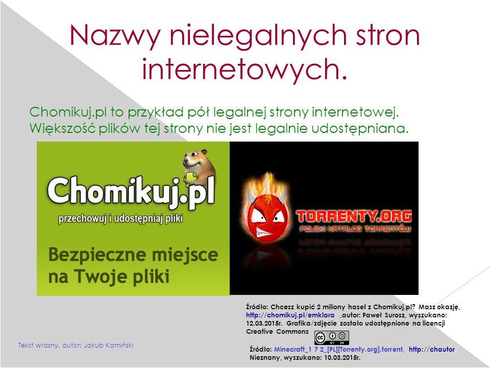 Nazwy nielegalnych stron internetowych.Chomikuj.pl to przykład pół legalnej strony internetowej.