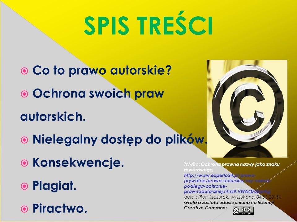 SPIS TREŚCI  Co to prawo autorskie. Ochrona swoich praw autorskich.