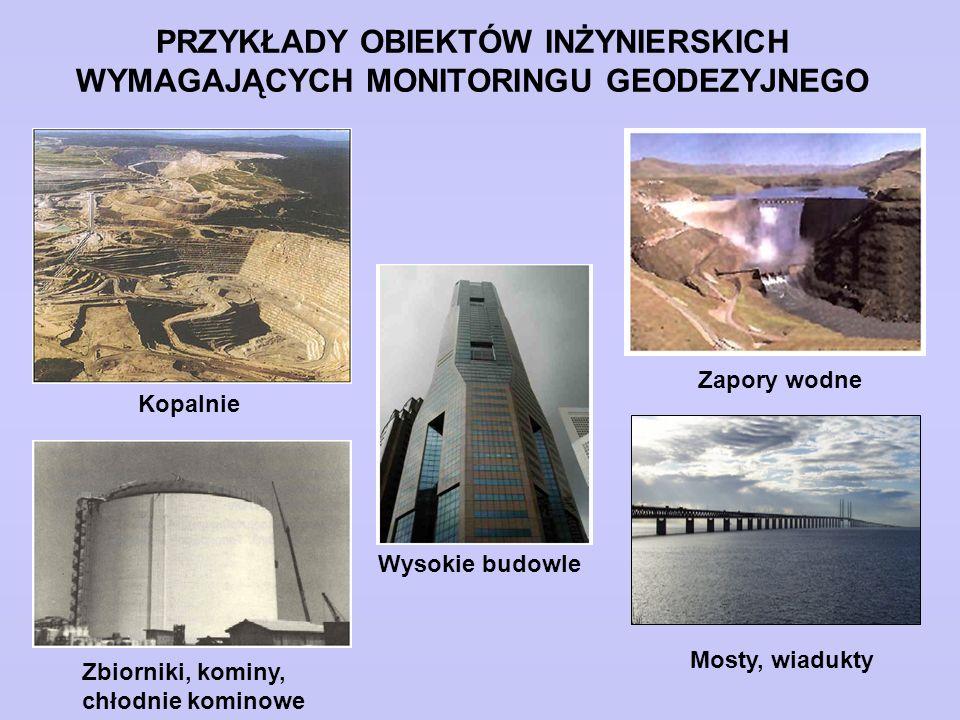 PRZYKŁADY OBIEKTÓW INŻYNIERSKICH WYMAGAJĄCYCH MONITORINGU GEODEZYJNEGO Zapory wodne Mosty, wiadukty Wysokie budowle Zbiorniki, kominy, chłodnie komino