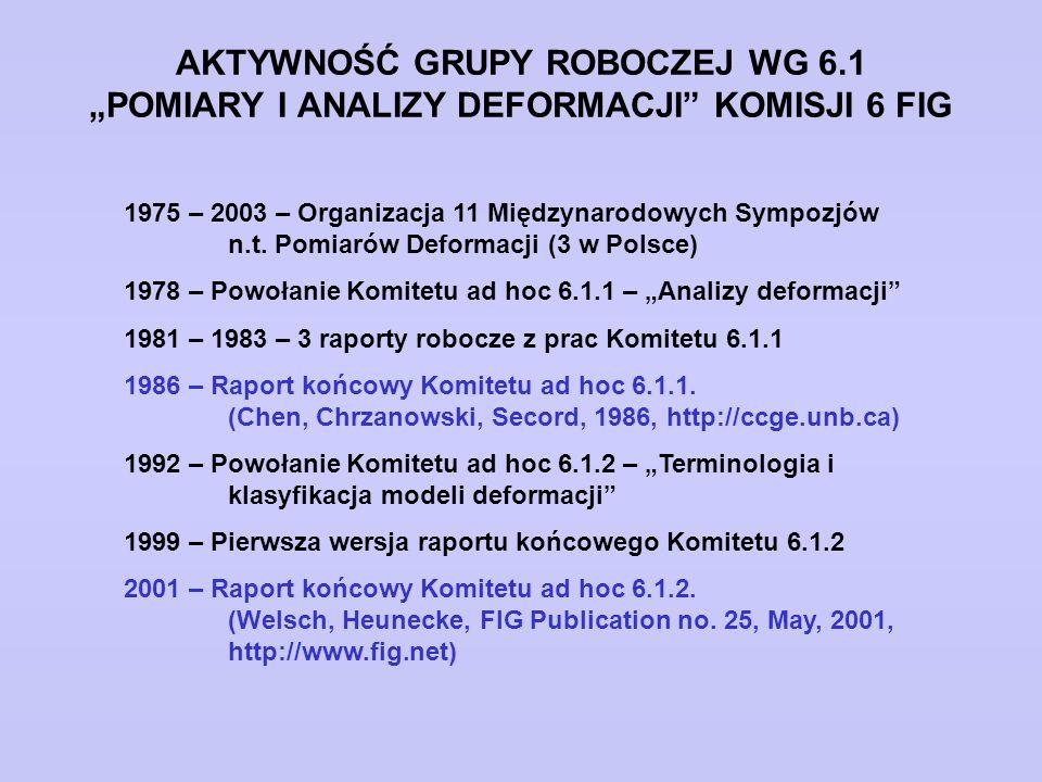 """AKTYWNOŚĆ GRUPY ROBOCZEJ WG 6.1 """"POMIARY I ANALIZY DEFORMACJI"""" KOMISJI 6 FIG 1975 – 2003 – Organizacja 11 Międzynarodowych Sympozjów n.t. Pomiarów Def"""