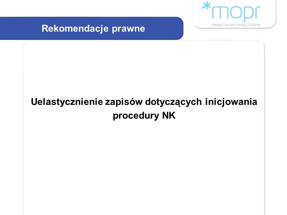 Rekomendacje prawne Uelastycznienie zapisów dotyczących inicjowania procedury NK