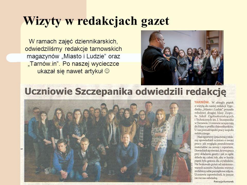"""Wizyty w redakcjach gazet W ramach zajęć dziennikarskich, odwiedziliśmy redakcje tarnowskich magazynów """"Miasto i Ludzie oraz """"Tarnów.in ."""