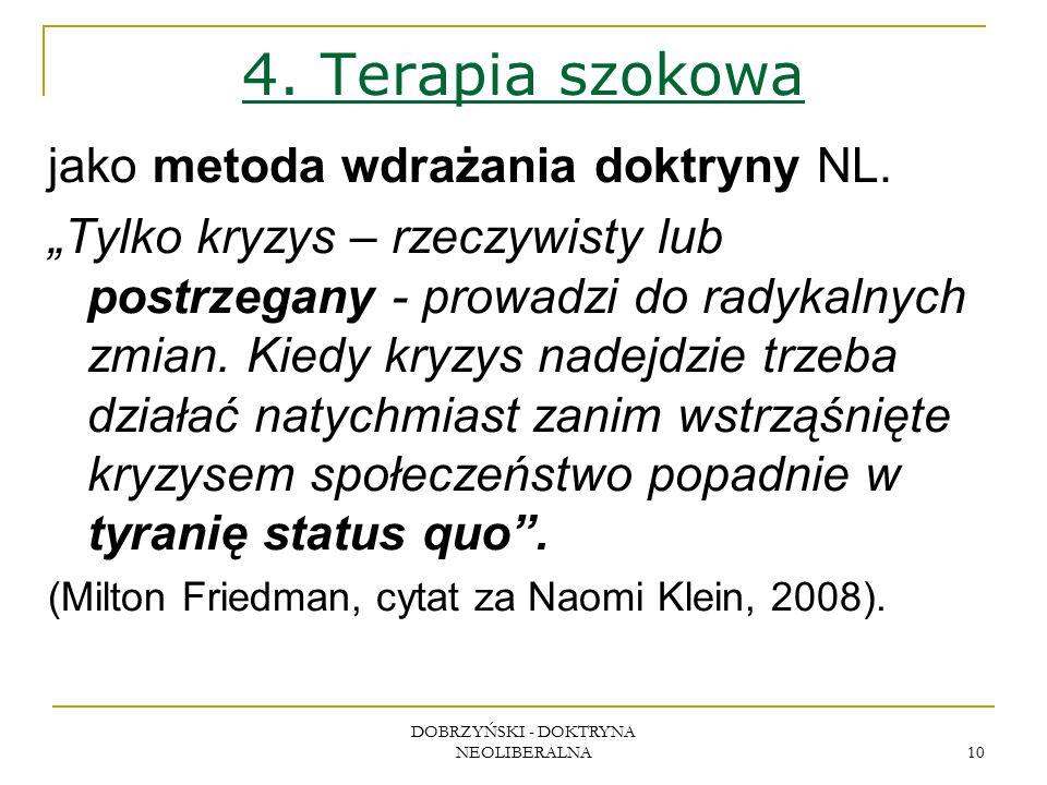 DOBRZYŃSKI - DOKTRYNA NEOLIBERALNA 10 4. Terapia szokowa jako metoda wdrażania doktryny NL.
