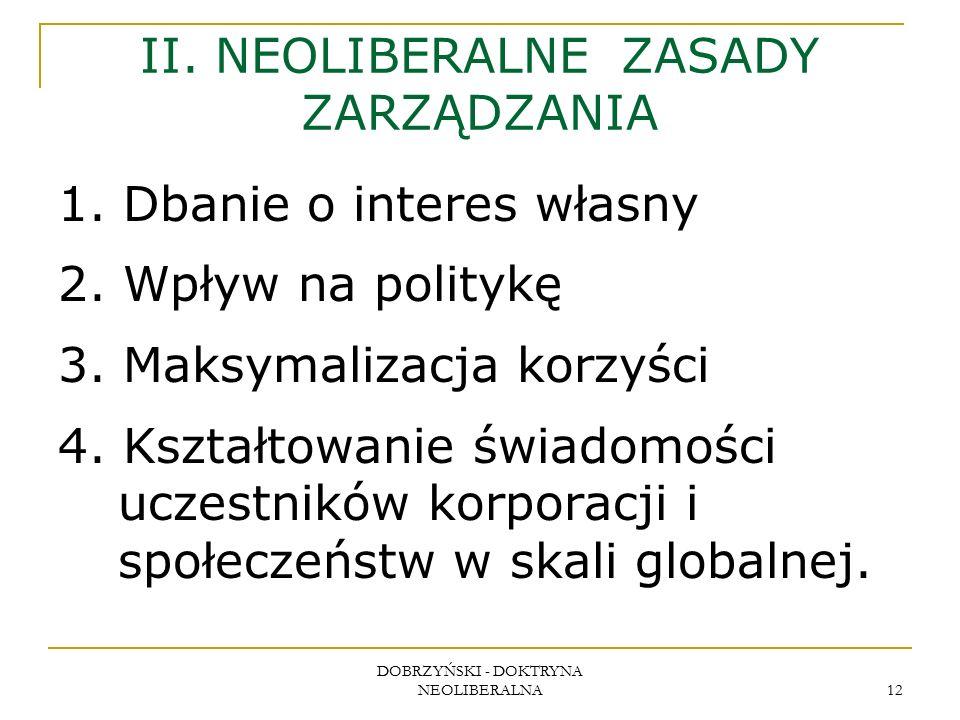 DOBRZYŃSKI - DOKTRYNA NEOLIBERALNA 12 II. NEOLIBERALNE ZASADY ZARZĄDZANIA 1.