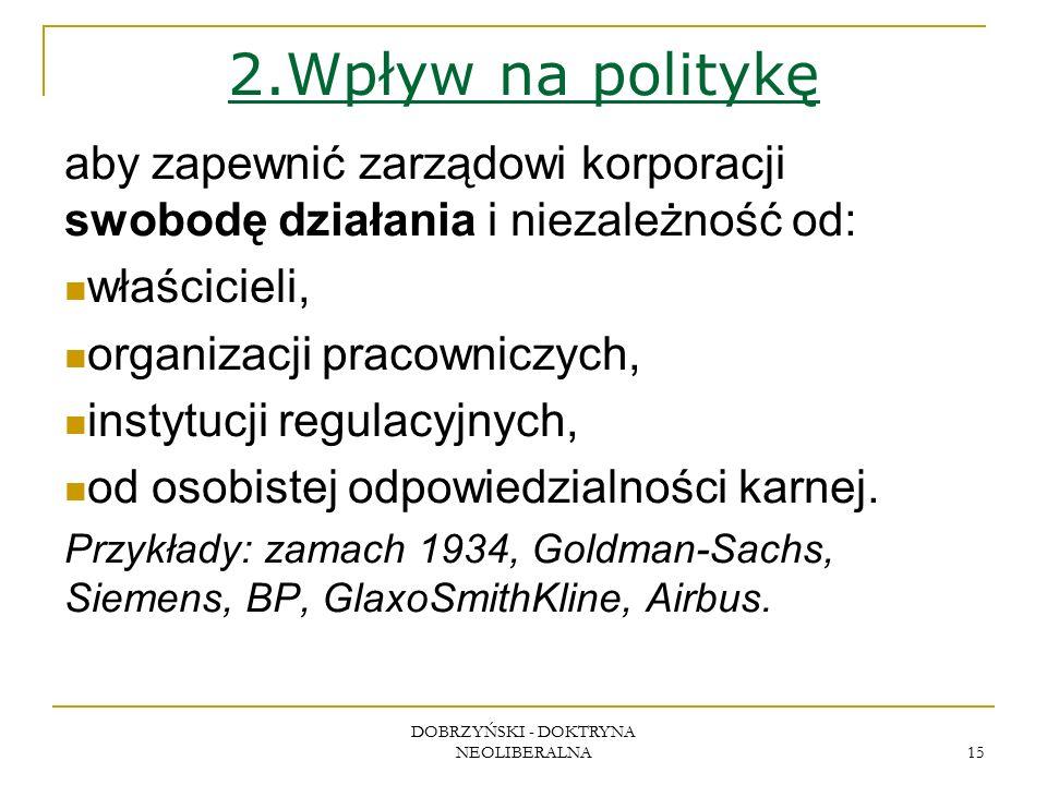 DOBRZYŃSKI - DOKTRYNA NEOLIBERALNA 15 2.Wpływ na politykę aby zapewnić zarządowi korporacji swobodę działania i niezależność od: właścicieli, organizacji pracowniczych, instytucji regulacyjnych, od osobistej odpowiedzialności karnej.