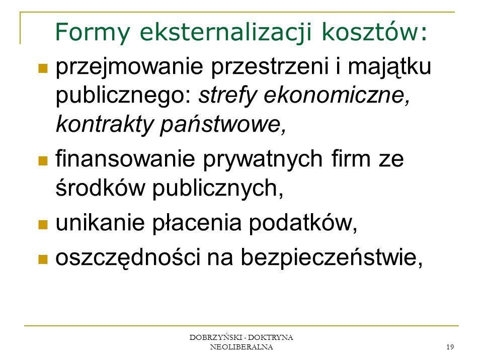 DOBRZYŃSKI - DOKTRYNA NEOLIBERALNA 19 Formy eksternalizacji kosztów: przejmowanie przestrzeni i majątku publicznego: strefy ekonomiczne, kontrakty państwowe, finansowanie prywatnych firm ze środków publicznych, unikanie płacenia podatków, oszczędności na bezpieczeństwie,