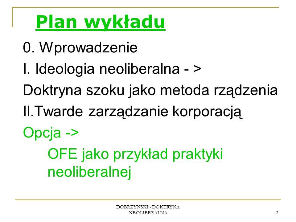 DOBRZYŃSKI - DOKTRYNA NEOLIBERALNA 2 Plan wykładu 0. Wprowadzenie I. Ideologia neoliberalna - > Doktryna szoku jako metoda rządzenia II.Twarde zarządz