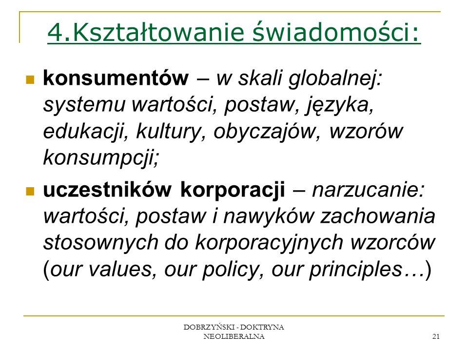 DOBRZYŃSKI - DOKTRYNA NEOLIBERALNA 21 4.Kształtowanie świadomości: konsumentów – w skali globalnej: systemu wartości, postaw, języka, edukacji, kultury, obyczajów, wzorów konsumpcji; uczestników korporacji – narzucanie: wartości, postaw i nawyków zachowania stosownych do korporacyjnych wzorców (our values, our policy, our principles…)