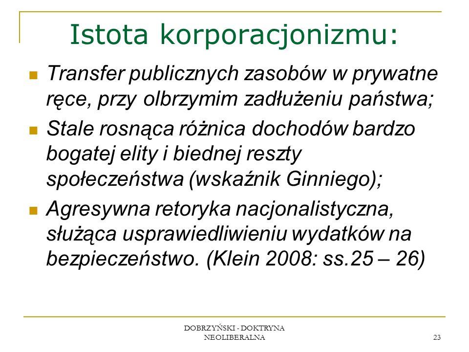 DOBRZYŃSKI - DOKTRYNA NEOLIBERALNA 23 Istota korporacjonizmu: Transfer publicznych zasobów w prywatne ręce, przy olbrzymim zadłużeniu państwa; Stale r