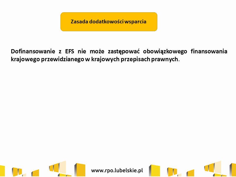 Dofinansowanie z EFS nie może zastępować obowiązkowego finansowania krajowego przewidzianego w krajowych przepisach prawnych.