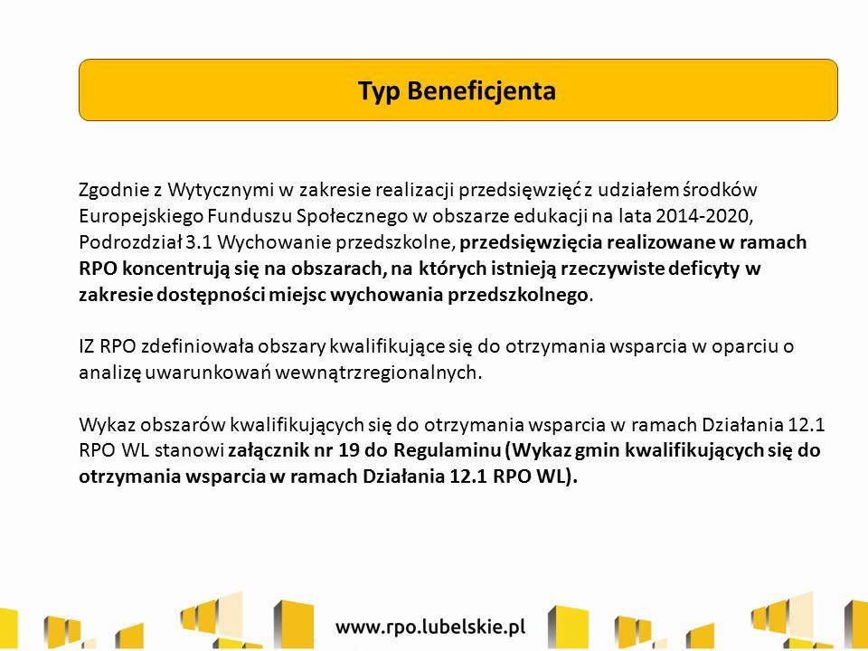 Typ Beneficjenta Zgodnie z Wytycznymi w zakresie realizacji przedsięwzięć z udziałem środków Europejskiego Funduszu Społecznego w obszarze edukacji na lata 2014-2020, Podrozdział 3.1 Wychowanie przedszkolne, przedsięwzięcia realizowane w ramach RPO koncentrują się na obszarach, na których istnieją rzeczywiste deficyty w zakresie dostępności miejsc wychowania przedszkolnego.