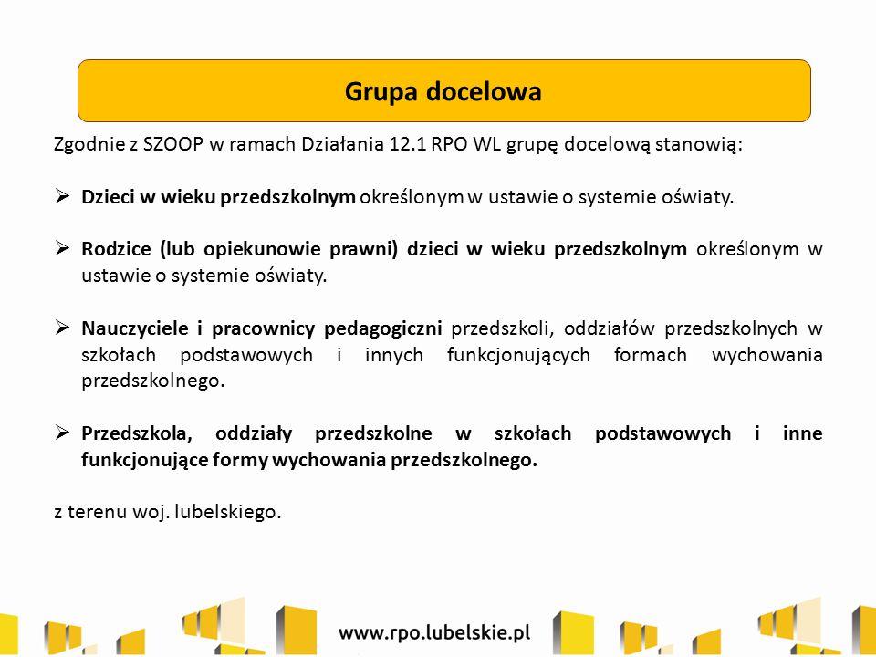 Grupa docelowa Zgodnie z SZOOP w ramach Działania 12.1 RPO WL grupę docelową stanowią:  Dzieci w wieku przedszkolnym określonym w ustawie o systemie oświaty.