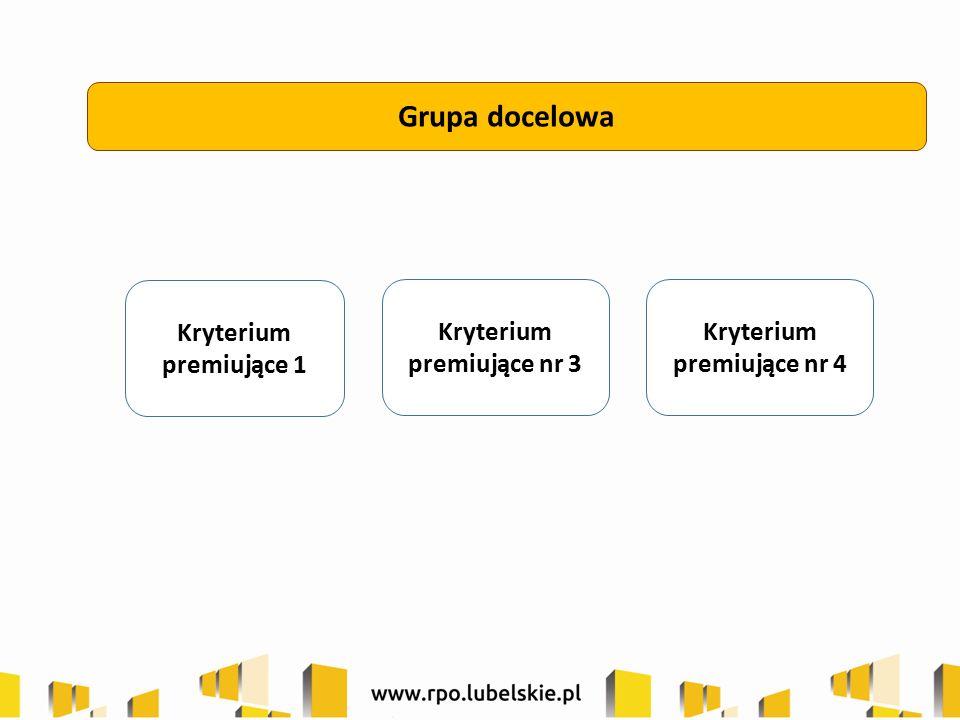 Grupa docelowa Kryterium premiujące 1 Kryterium premiujące nr 3 Kryterium premiujące nr 4