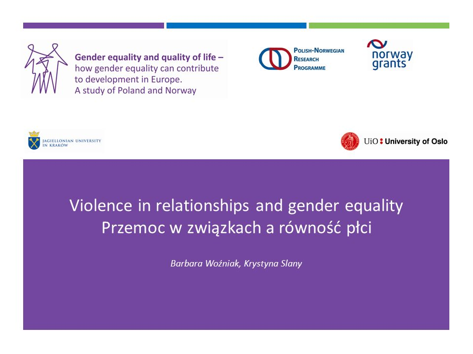 Violence in relationships and gender equality Przemoc w związkach a równość płci Barbara Woźniak, Krystyna Slany