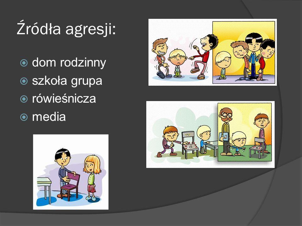 Źródła agresji:  dom rodzinny  szkoła grupa  rówieśnicza  media