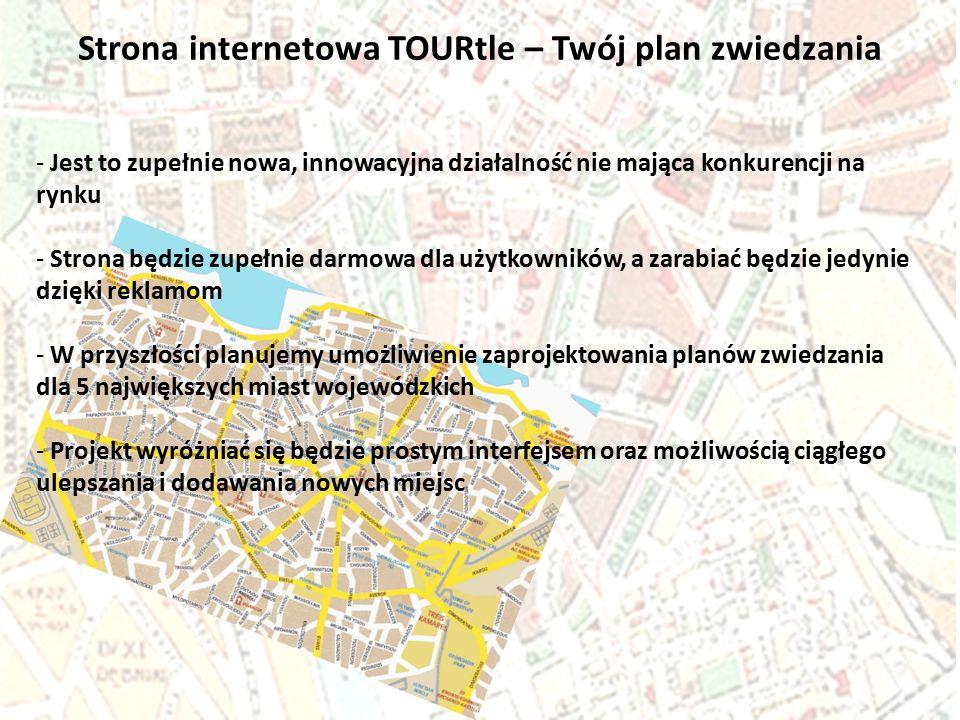 Strona internetowa TOURtle – Twój plan zwiedzania - Jest to zupełnie nowa, innowacyjna działalność nie mająca konkurencji na rynku - Strona będzie zup