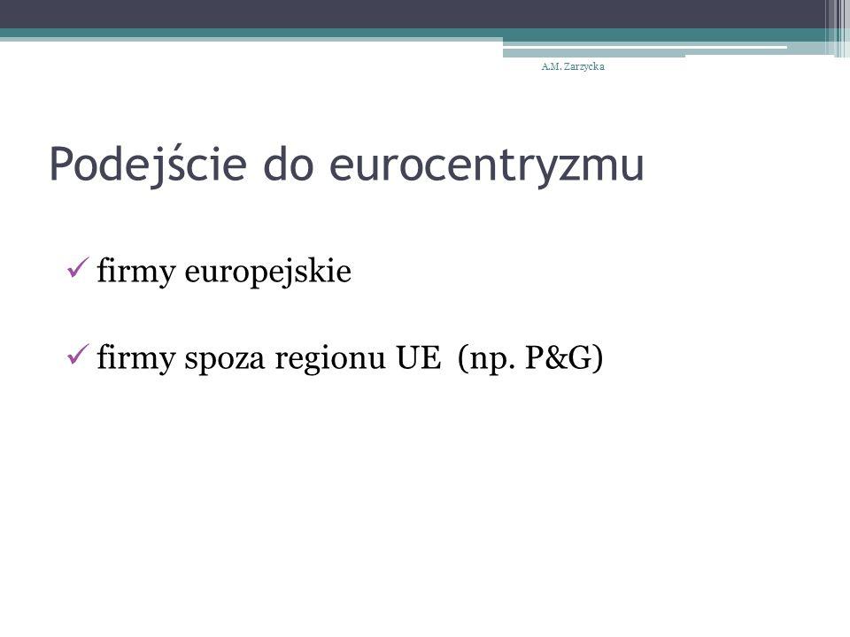 Podejście do eurocentryzmu firmy europejskie firmy spoza regionu UE (np. P&G) A.M. Zarzycka