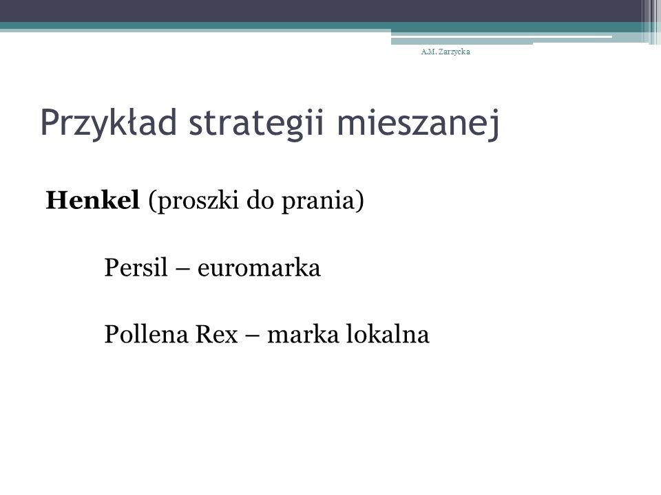 Przykład strategii mieszanej Henkel (proszki do prania) Persil – euromarka Pollena Rex – marka lokalna A.M. Zarzycka