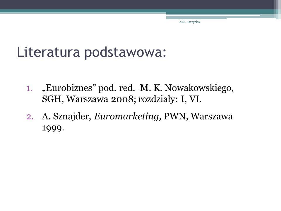 """Literatura podstawowa: A.M. Zarzycka 1.""""Eurobiznes"""" pod. red. M. K. Nowakowskiego, SGH, Warszawa 2008; rozdziały: I, VI. 2.A. Sznajder, Euromarketing,"""