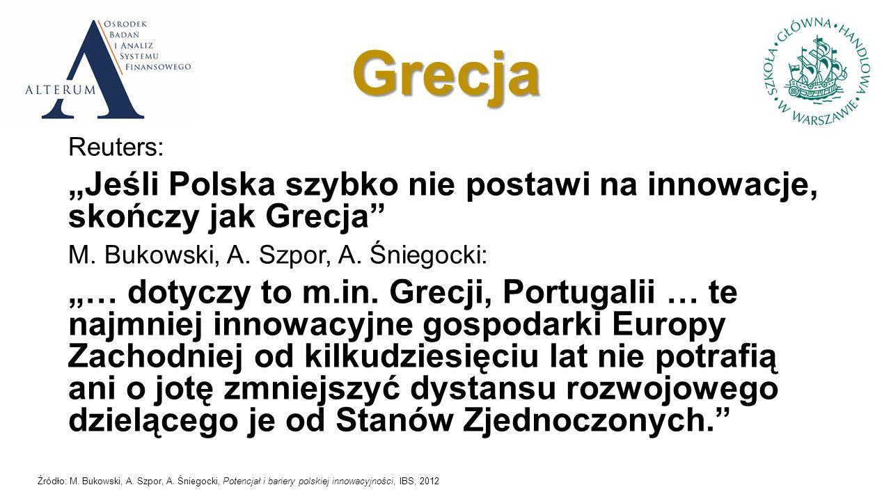 Ranking Innovation Union Scoreboard 2007 - 2011 Źródło: Pro Inno Europe (2012)