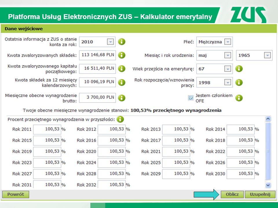 Warszawa, 12.02.2013 r. 10 Kompleksowy System Informatyczny ZUS Platforma Usług Elektronicznych ZUS – Kalkulator emerytalny