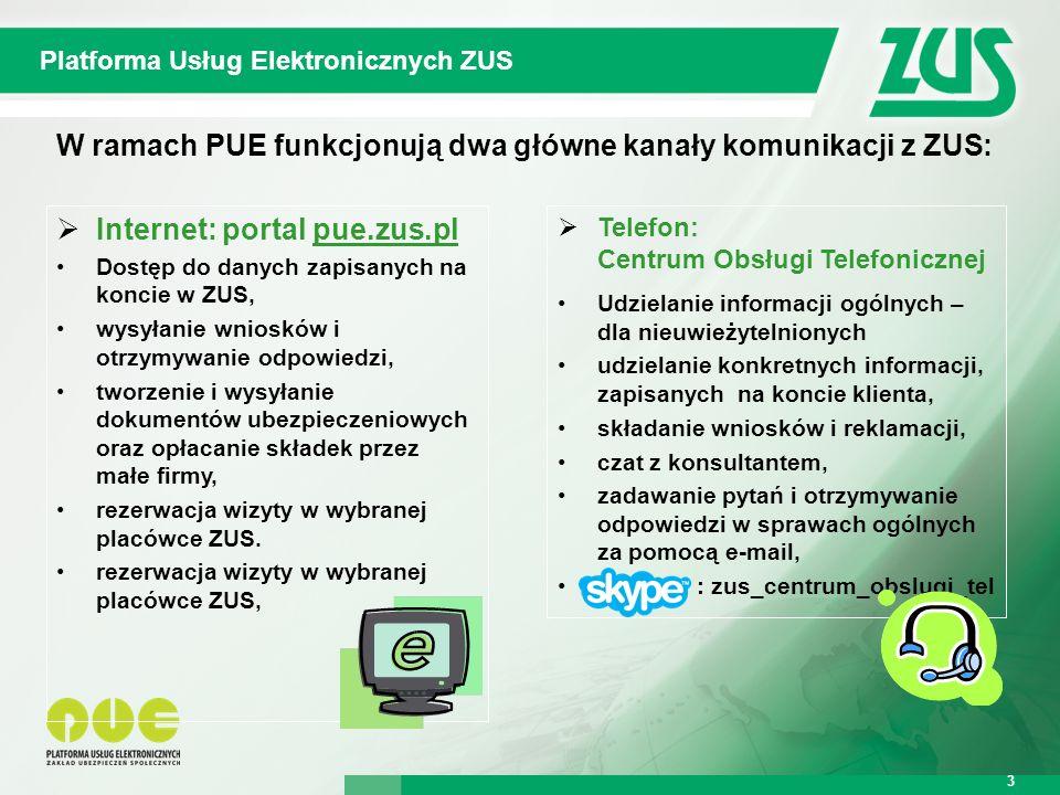Warszawa, 12.02.2013 r. 3 Platforma Usług Elektronicznych ZUS 3 W ramach PUE funkcjonują dwa główne kanały komunikacji z ZUS:  Internet: portal pue.z