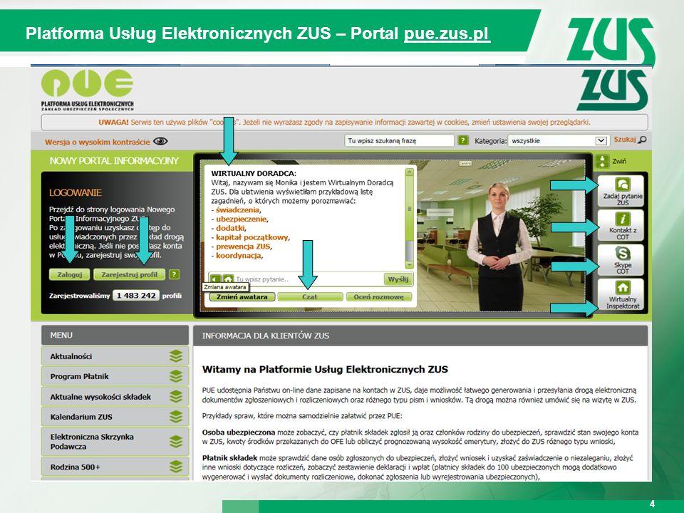 Warszawa, 12.02.2013 r. 4 4 Platforma Usług Elektronicznych ZUS – Portal pue.zus.pl