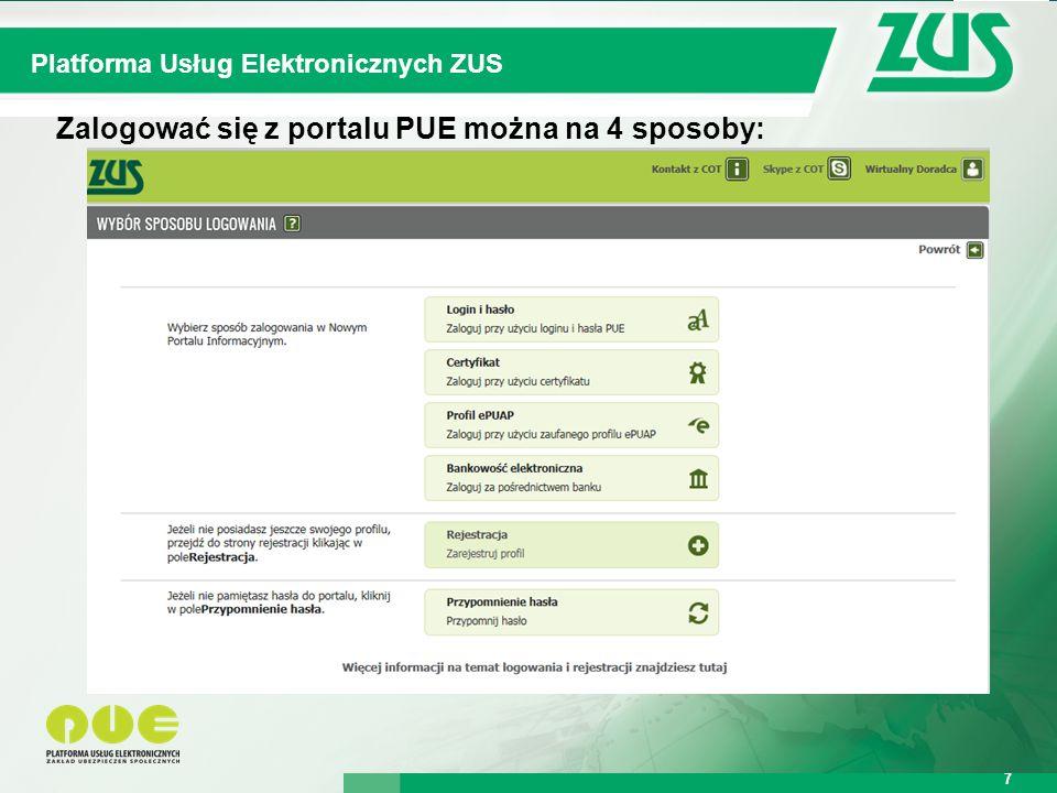 Warszawa, 12.02.2013 r. 7 Kompleksowy System Informatyczny ZUS Platforma Usług Elektronicznych ZUS 7 Zalogować się z portalu PUE można na 4 sposoby: