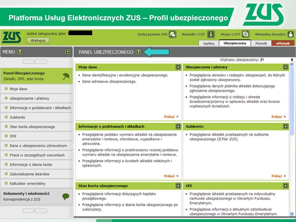 Warszawa, 12.02.2013 r. 9 Kompleksowy System Informatyczny ZUS Platforma Usług Elektronicznych ZUS – Profil ubezpieczonego 9