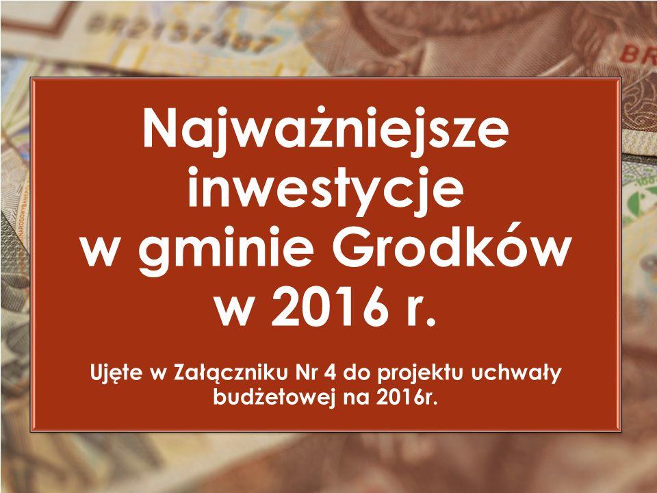 Najważniejsze inwestycje w gminie Grodków w 2016 r.