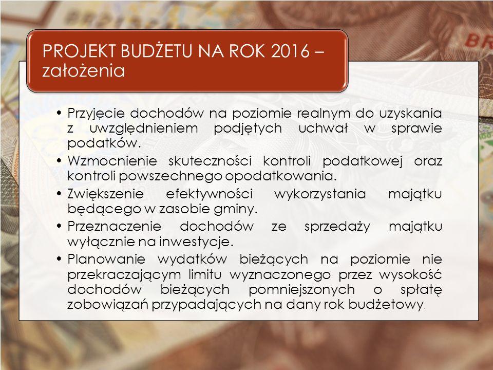 DOCHODY OGÓŁEM NA 2016 ROK 57.097.573,00 zł, w tym : Dochody bieżące 51.951.135,00 zł Plan na 2015 r.