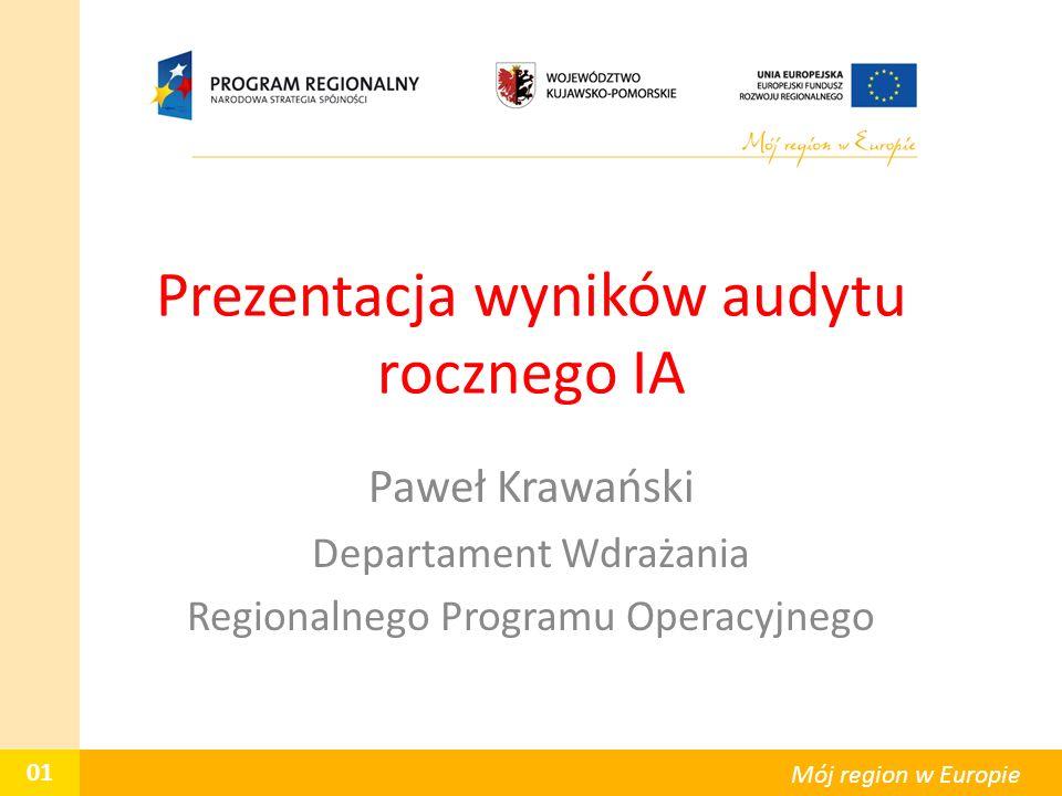 Prezentacja wyników audytu rocznego IA Paweł Krawański Departament Wdrażania Regionalnego Programu Operacyjnego 01 Mój region w Europie