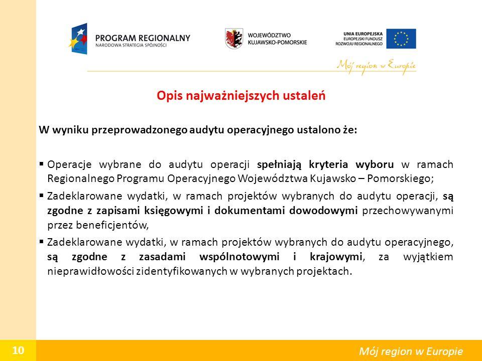 Opis najważniejszych ustaleń W wyniku przeprowadzonego audytu operacyjnego ustalono że:  Operacje wybrane do audytu operacji spełniają kryteria wyboru w ramach Regionalnego Programu Operacyjnego Województwa Kujawsko – Pomorskiego;  Zadeklarowane wydatki, w ramach projektów wybranych do audytu operacji, są zgodne z zapisami księgowymi i dokumentami dowodowymi przechowywanymi przez beneficjentów,  Zadeklarowane wydatki, w ramach projektów wybranych do audytu operacyjnego, są zgodne z zasadami wspólnotowymi i krajowymi, za wyjątkiem nieprawidłowości zidentyfikowanych w wybranych projektach.