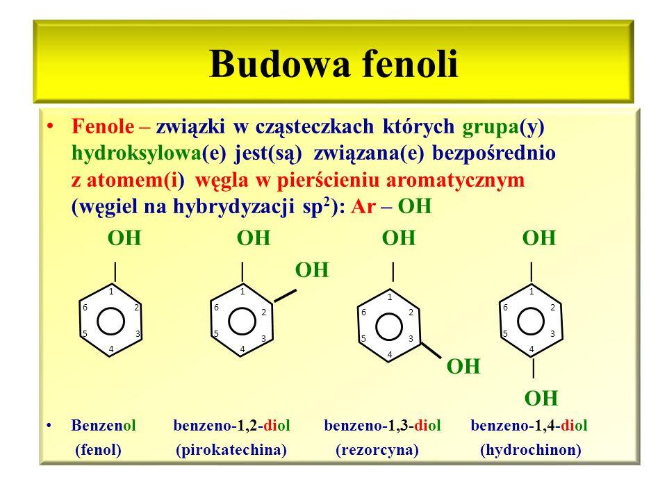 Fenole Budowa fenoli Homologi fenolu Nazewnictwo fenoli Właściwości chemiczne i fizyczne Zastosowanie