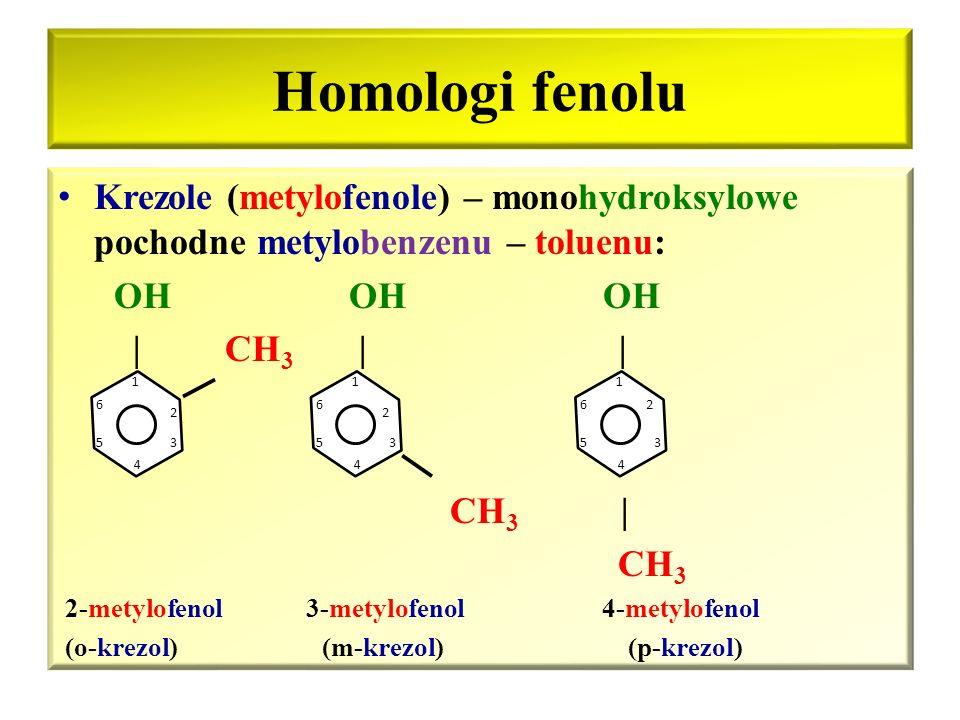 Budowa fenoli Fenole – związki w cząsteczkach których grupa(y) hydroksylowa(e) jest(są) związana(e) bezpośrednio z atomem(i) węgla w pierścieniu aroma