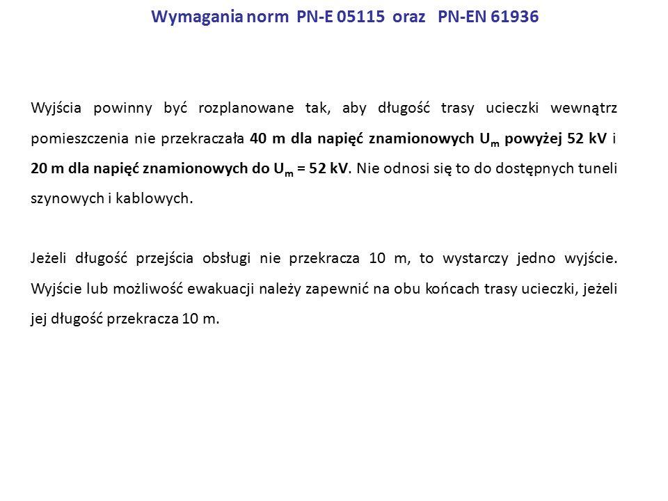 Wymagania norm PN-E 05115 oraz PN-EN 61936 Wyjścia powinny być rozplanowane tak, aby długość trasy ucieczki wewnątrz pomieszczenia nie przekraczała 40 m dla napięć znamionowych U m powyżej 52 kV i 20 m dla napięć znamionowych do U m = 52 kV.