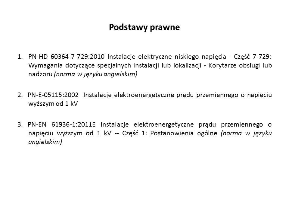 Podstawy prawne 1.PN-HD 60364-7-729:2010 Instalacje elektryczne niskiego napięcia - Część 7-729: Wymagania dotyczące specjalnych instalacji lub lokalizacji - Korytarze obsługi lub nadzoru (norma w języku angielskim) 2.