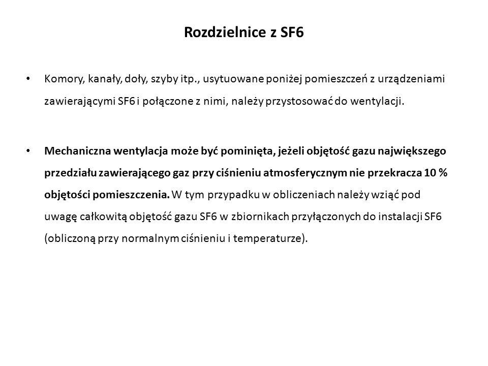 Rozdzielnice z SF6 Komory, kanały, doły, szyby itp., usytuowane poniżej pomieszczeń z urządzeniami zawierającymi SF6 i połączone z nimi, należy przystosować do wentylacji.