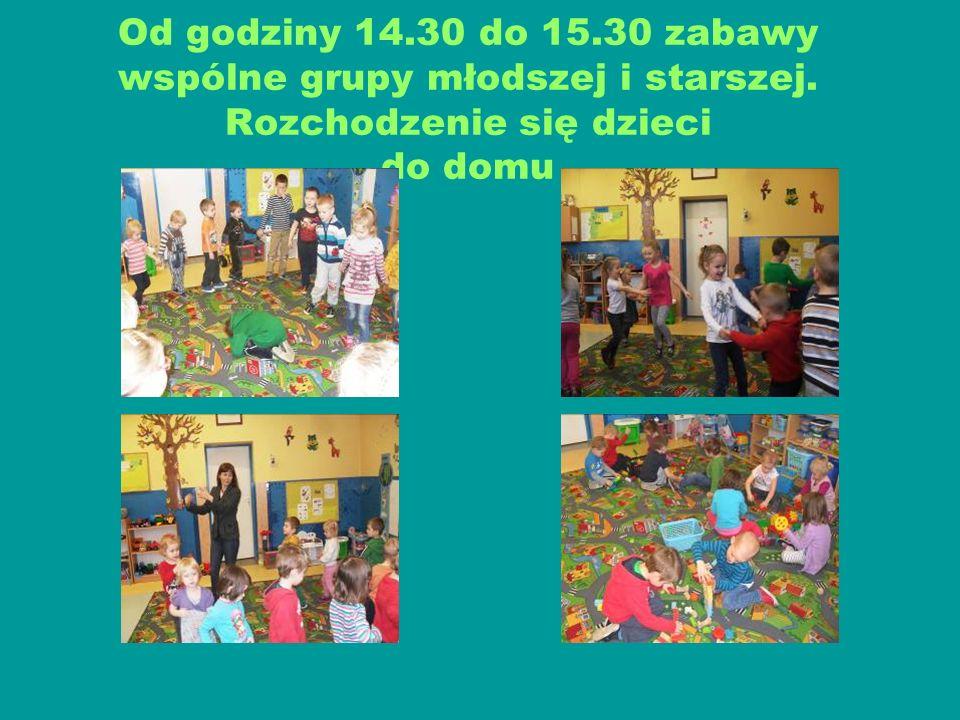 Od godziny 14.30 do 15.30 zabawy wspólne grupy młodszej i starszej. Rozchodzenie się dzieci do domu
