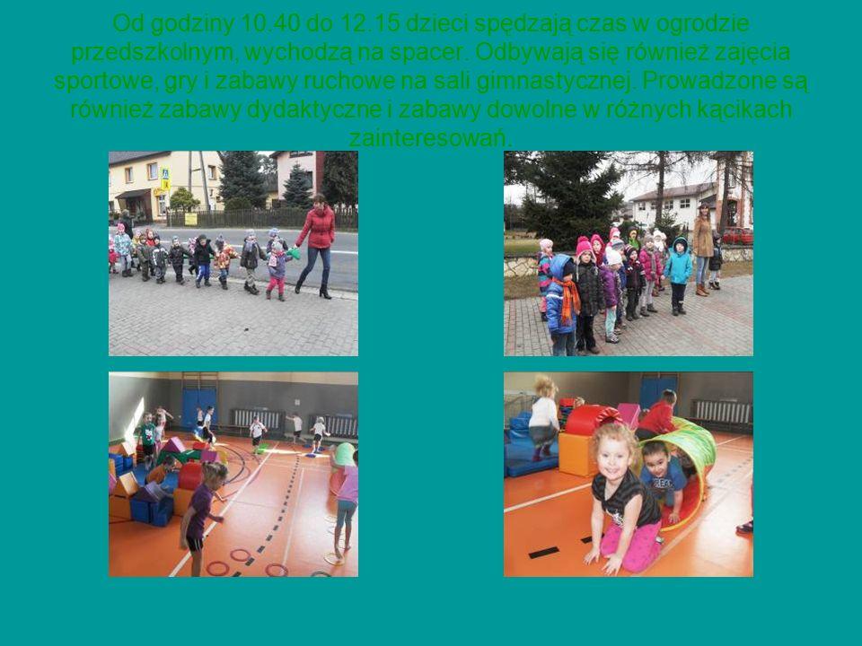 Od godziny 10.40 do 12.15 dzieci spędzają czas w ogrodzie przedszkolnym, wychodzą na spacer.