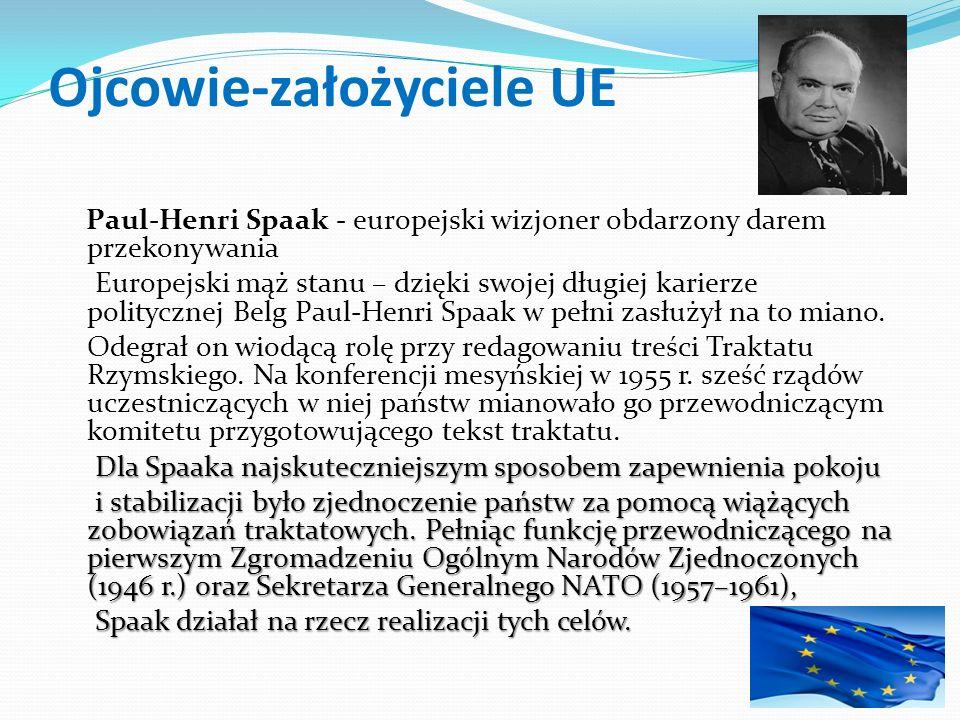 Ojcowie-założyciele UE Paul-Henri Spaak - europejski wizjoner obdarzony darem przekonywania Europejski mąż stanu – dzięki swojej długiej karierze poli