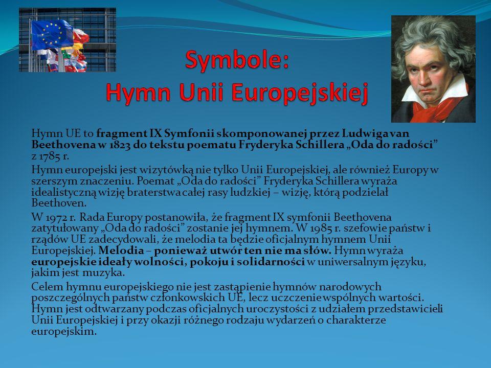 """Hymn UE to fragment IX Symfonii skomponowanej przez Ludwiga van Beethovena w 1823 do tekstu poematu Fryderyka Schillera """"Oda do radości z 1785 r."""