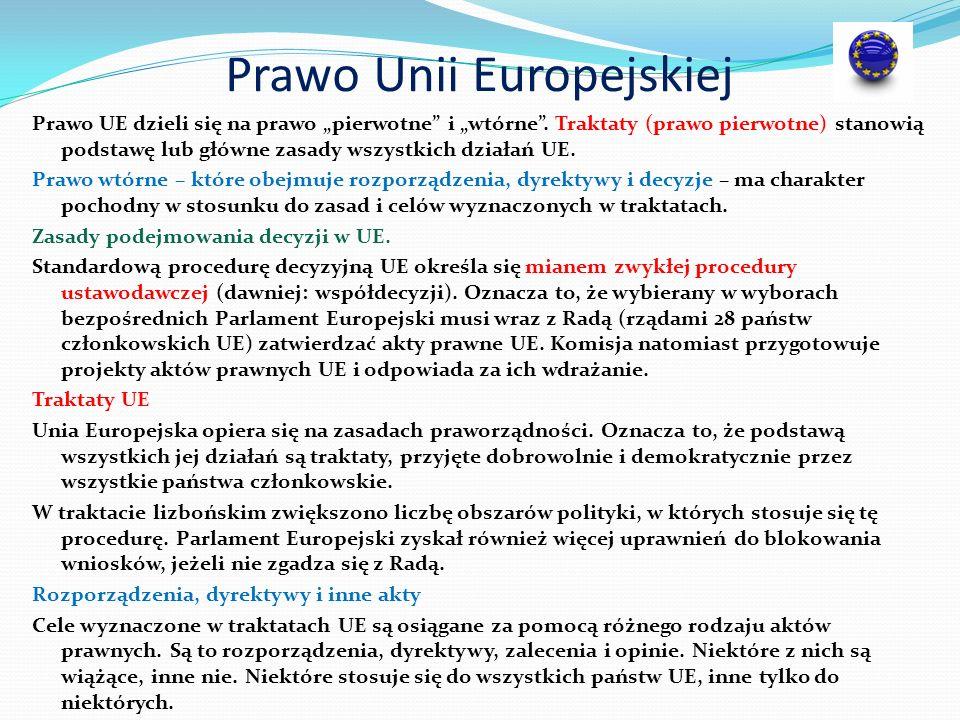 """Prawo Unii Europejskiej Prawo UE dzieli się na prawo """"pierwotne"""" i """"wtórne"""". Traktaty (prawo pierwotne) stanowią podstawę lub główne zasady wszystkich"""
