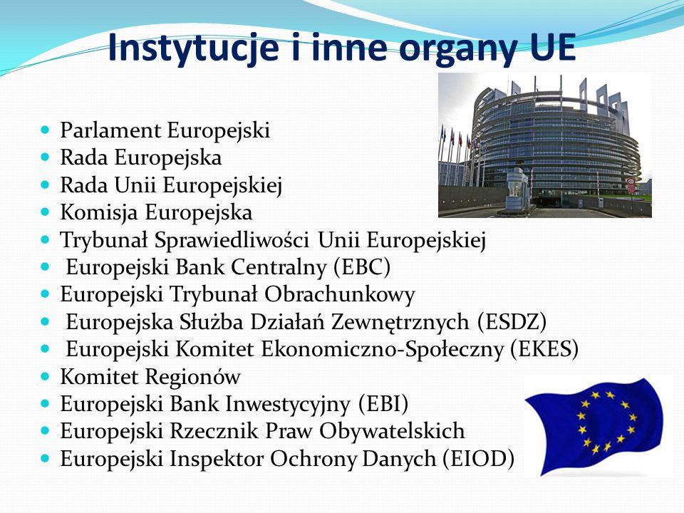 Instytucje i inne organy UE Parlament Europejski Rada Europejska Rada Unii Europejskiej Komisja Europejska Trybunał Sprawiedliwości Unii Europejskiej Europejski Bank Centralny (EBC) Europejski Trybunał Obrachunkowy Europejska Służba Działań Zewnętrznych (ESDZ) Europejski Komitet Ekonomiczno-Społeczny (EKES) Komitet Regionów Europejski Bank Inwestycyjny (EBI) Europejski Rzecznik Praw Obywatelskich Europejski Inspektor Ochrony Danych (EIOD)