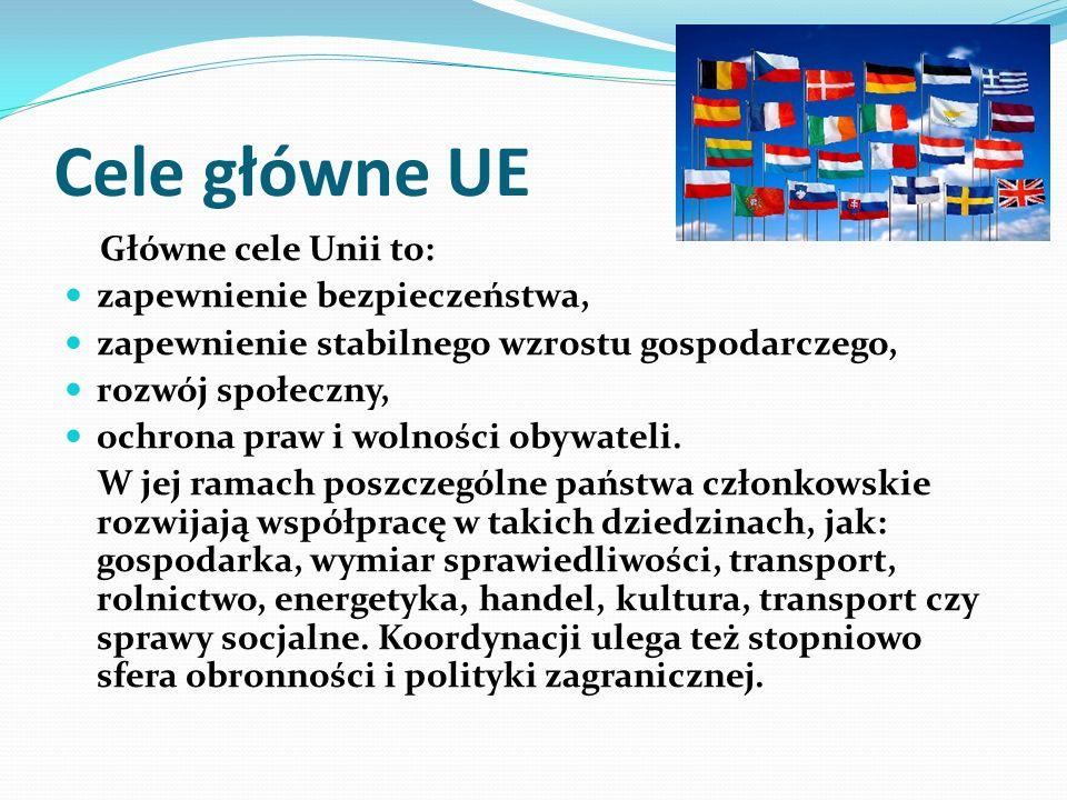 Cele główne UE Główne cele Unii to: zapewnienie bezpieczeństwa, zapewnienie stabilnego wzrostu gospodarczego, rozwój społeczny, ochrona praw i wolności obywateli.